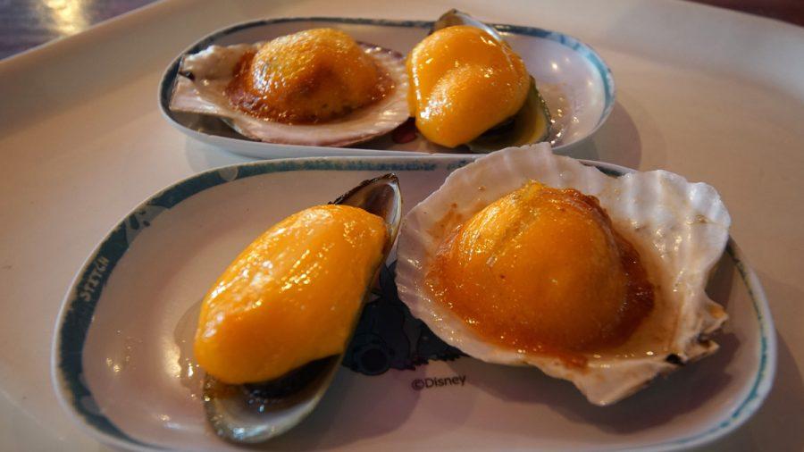 おんなの駅(おんなのえき)ムール貝のウニソース焼き&ホタテのうにソース焼き