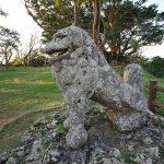 富盛の石彫大獅子(ともりのいしぼりうふじし)の弾痕跡